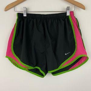 Nike Dri-Fit Blk Pink Green Running Shorts Sz M